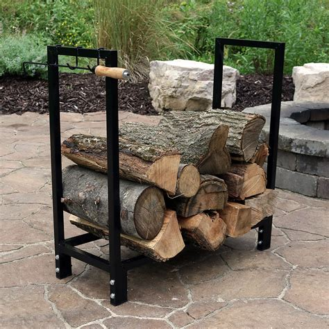 Outdoor Wood Rack by Black Steel Firewood Log Rack Indoor Outdoor Storage 30 Inch Options Ebay