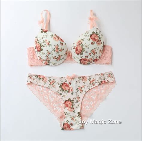 Flower Set yomrzl sale cotton s bra and brief set flower bow bra set 3 4 cup push up