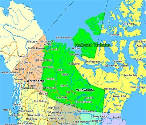canadian map of territories canada map northwest territories