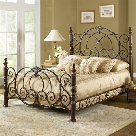King Wrought Iron Bed Frame The Bedroom With A Decorative Wrought Iron Bed
