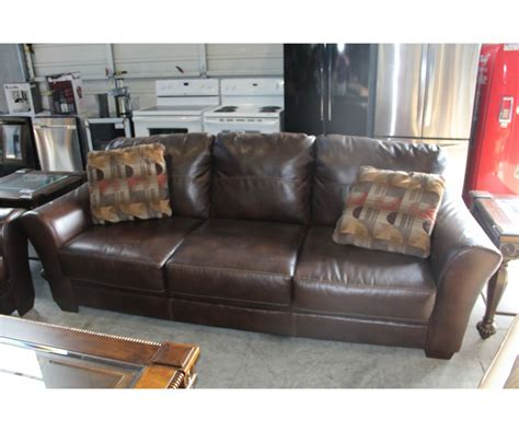 Brown Leather Sofa Cushions Brown Leather Sofa With 2 Throw Cushions Able Auctions