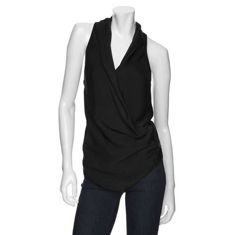 helmut lang draped top helmut lang faux wrap drape top in black lyst