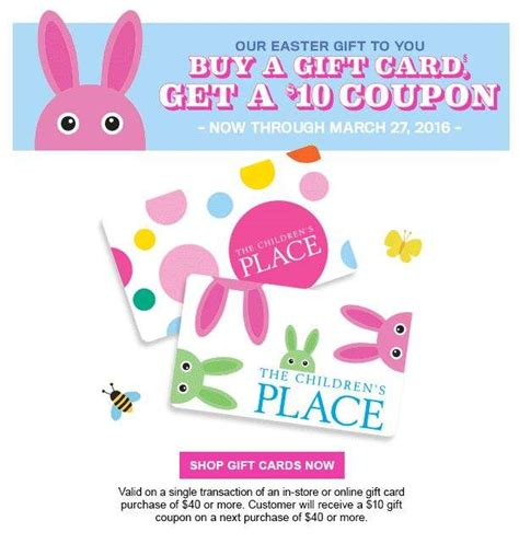 Are Gift Cards Subject To Sales Tax - the children s place get a 10 coupon when you buy 40 gift card exp mar 27