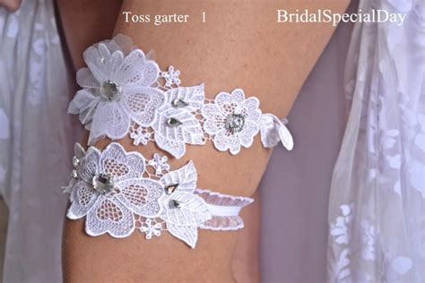 Handmade Wedding Garter - wedding garter set white bridal garter with tulle flower