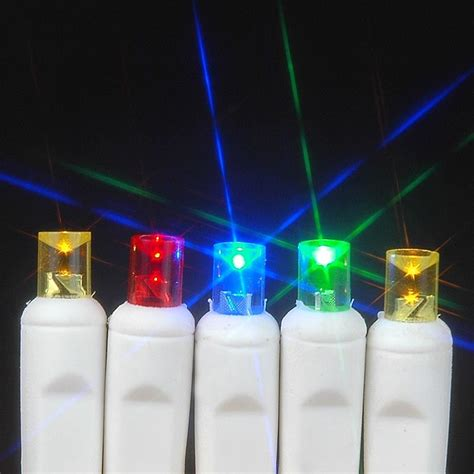 multi colored led christmas lights white wire wide angle assorted multi colored 50 led