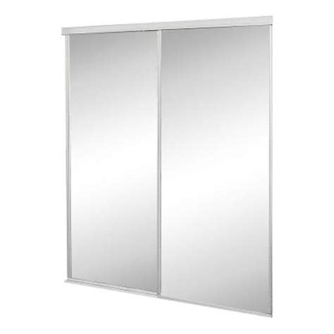 Sliding Closet Doors Home Depot Contractors Wardrobe 48 In X 81 In Concord Mirrored White Aluminum Interior Sliding Door