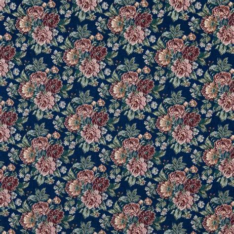 Tapestry Fabric Navy Green And Orange Floral Tapestry Upholstery