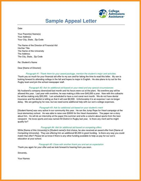 admission appeal letter sample southbeachcafesfcom