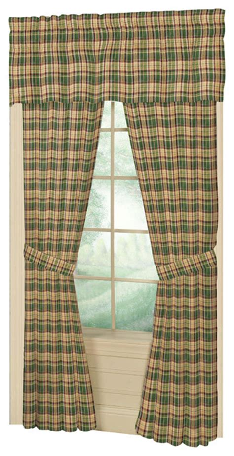 Gold Plaid Curtains Green Gold Plaid Window Curtain 40x80 Pl 10 Quot Lp Farmhouse Curtains By Patch Magic