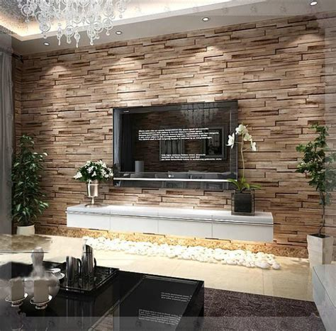 luxury home decor combined with wooden and brick wall pvc wood stone brick wallpaper 3d modern wall paper luxury