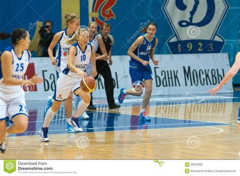 Mba Dynamo Moscow Basketball by Dynamo Defender Ilona Korstin Number 10 Editorial Image