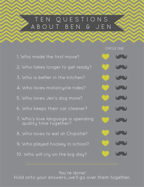 Questions For Bridal Shower Ask Groom by Bridal Shower Chevron Designs Ten Questions