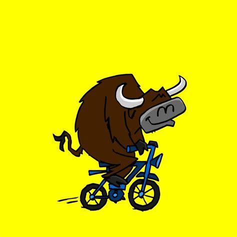 on a bike bull on a bike
