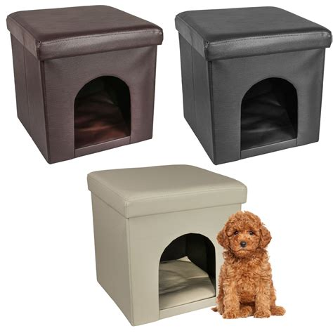 dog house leather ottoman dog cat pet house bed hideaway foldable foot stool
