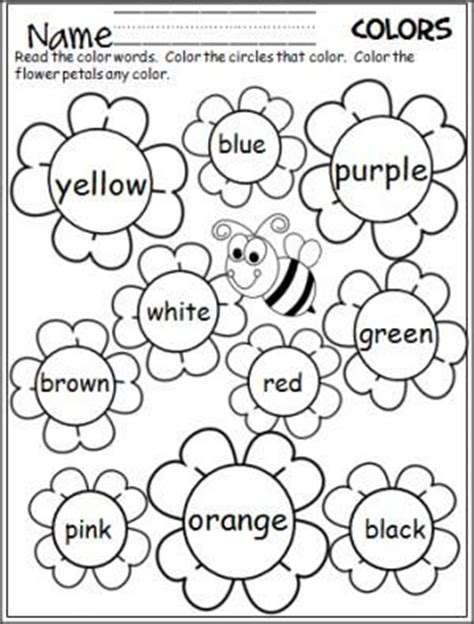 Color Word Worksheets by Flower Colors Words And Flower On
