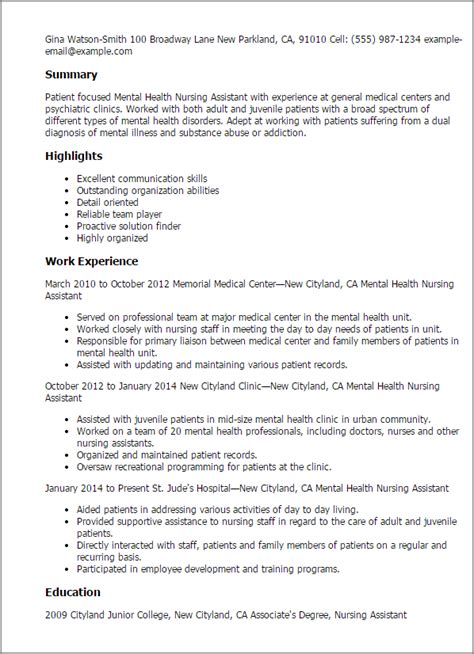 Mental Health Resume by Professional Mental Health Nursing Assistant Templates To