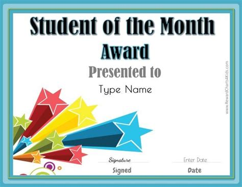 free printable student of the month certificate templates free student of the month certificate