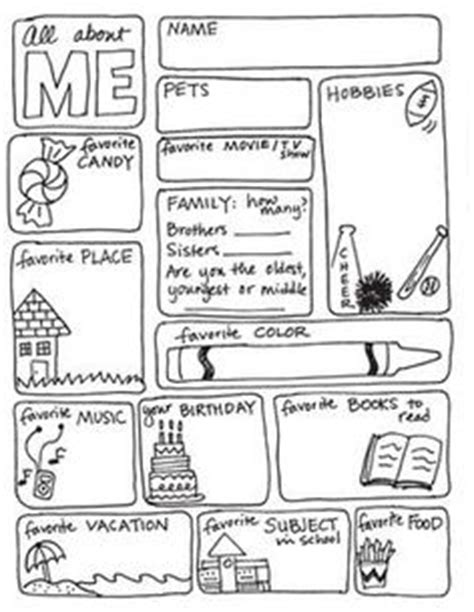 All About Me Middle School Worksheet by 1000 Ideas About All About Me On All About Me