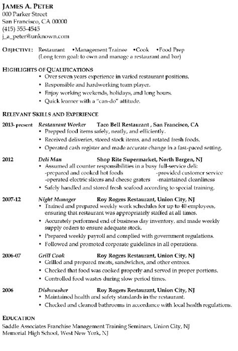 Resume Exles For Cook In Restaurant Resume Sle Restaurant Management Trainee Or Cook