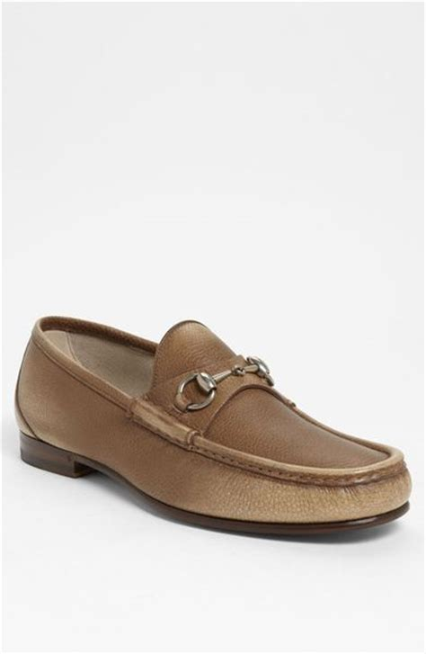 gucci roos bit loafer in beige for brown lyst
