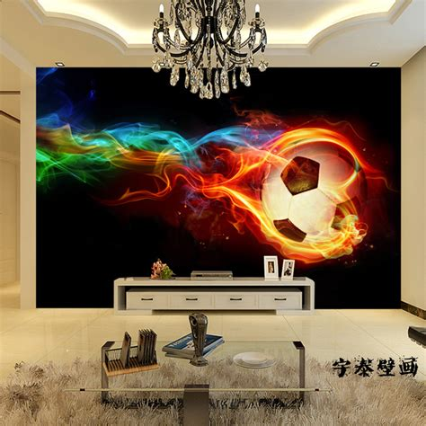 soccer wall mural soccer wall murals large shock 3d stereo custom cool football non woven wallpaper 1x3m in