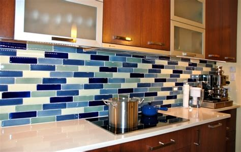 Blue Glass Kitchen Backsplash Glass Tile For Kitchen Backsplash Blue Blend Home Interiors