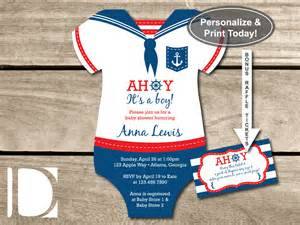 nautical baby shower invitations templates nautical baby shower invitation onesie ahoy it s by