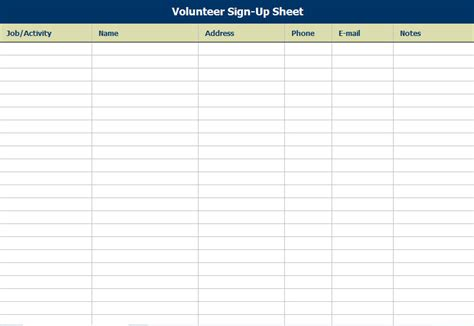 clever volunteer sign up sheet and template page sle