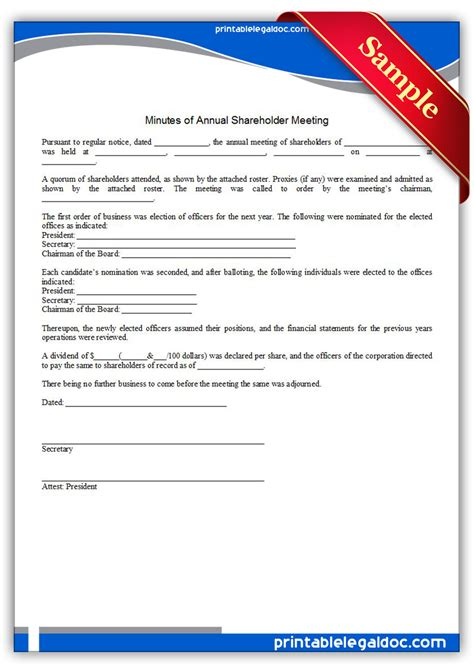 annual corporate minutes template free free printable minutes of annual shareholder meeting form