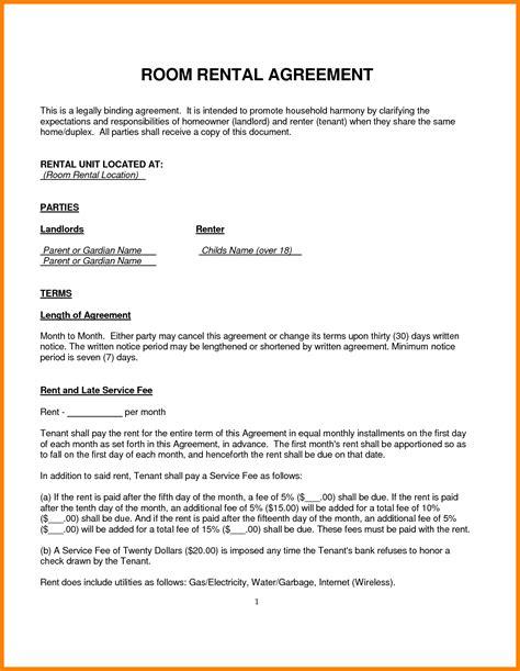 room rental agreements 9 room rental agreement resume pictures