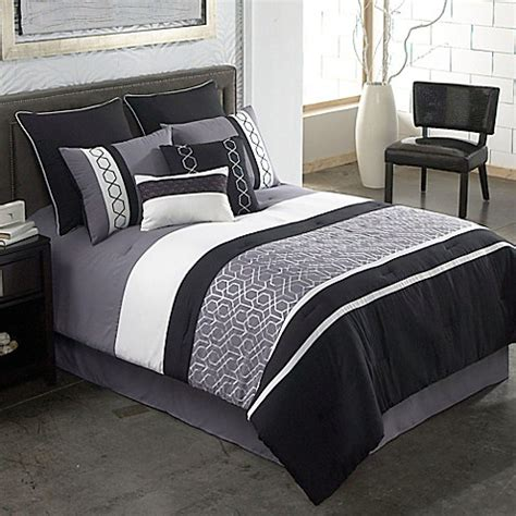 Black Grey Bedding Sets Covington 8 Comforter Set In Grey Black Bed Bath Beyond