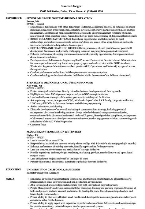 design strategist cv design strategy manager resume sles velvet jobs