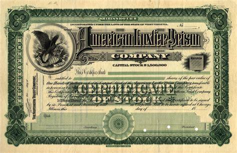 american luxfer prism company sle stock certificate