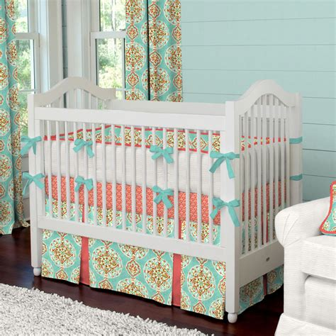 Baby Crib Carousel Coral And Aqua Medallion Baby Crib Bedding Baby Crib Bedding Skirts And Carousels