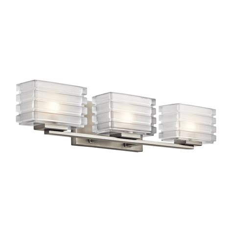Modern Bathroom Lighting Lowes Shop Kichler Lighting 3 Light Bazely Brushed Nickel Modern