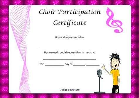 choir certificate template choir certificate of partcipation template certificate