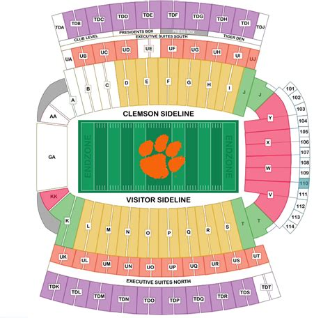 clemson stadium seating chart with rows clemson tigers tickets october 28 2017 at 1 00 pm