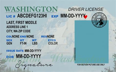 washington state id card template buy drivers license