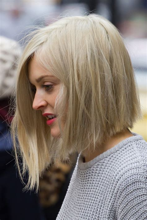 blonde bob long at front fearne cotton straight ash blonde asymmetrical bob