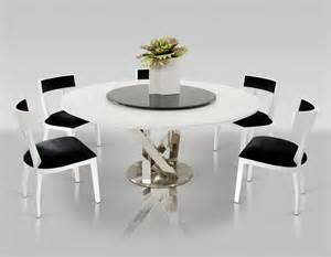 Dining Table With Dreamfurniture Modern White Dining Table With Lazy Susan