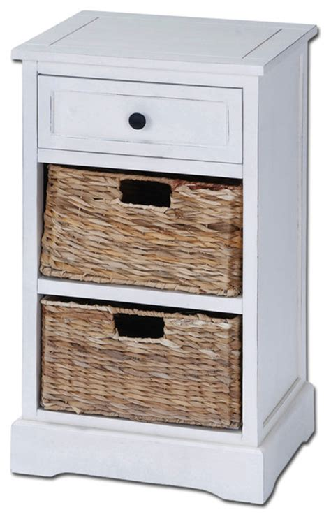 accent table with baskets malibu 3 drawer night stand with wicker baskets white
