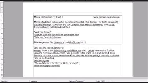 deutsch pruefung modul schreiben       der