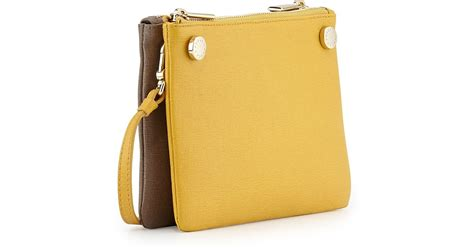 Furla Lattelier 2tone furla lilli two tone mini leather crossbody bag in yellow lyst