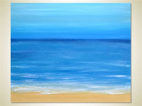 abstract acrylic painting sand waves blue clear sky 24 x 20 canvas coastal