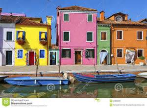 italy colorful houses colorful houses and canal on burano island near venice