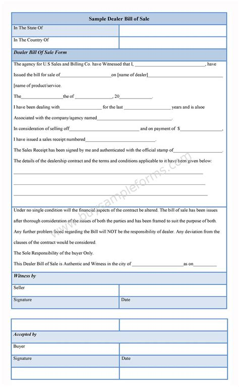 dealer bill of sale form dealer bill of sale template