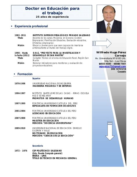Modelo De Curriculum Vitae Documentado Actual Curriculum Ipae