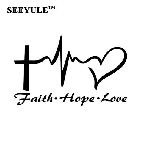 1pc seeyule jesus cross ecg heart pattern faith hope love