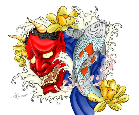 hannya mask and koi tattoo meaning koi and hannya tattoo by megalithartmalta on deviantart
