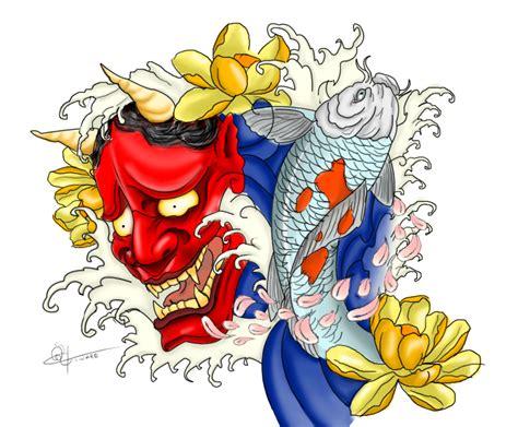 hannya mask tattoo wallpaper koi and hannya tattoo by megalithartmalta on deviantart